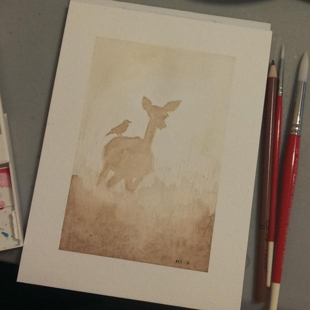 aquarelle hjort